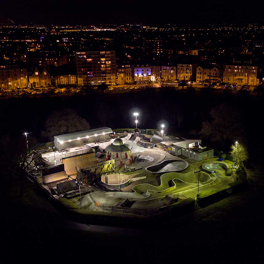 Southsea Skatepark by night - drone shot by Jamie Hancock