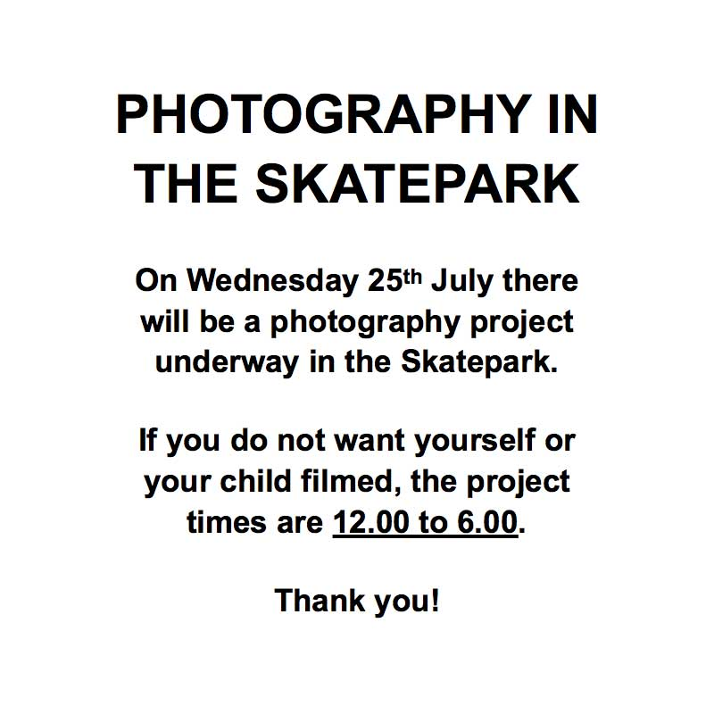 Photography in the skatepark notice