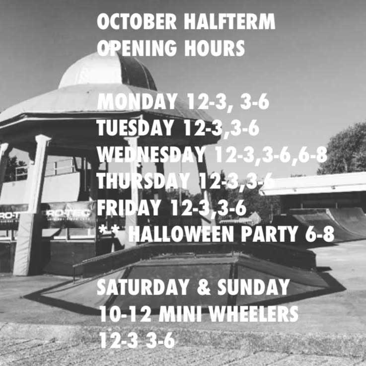 October 2018 Half Term Opening Hours