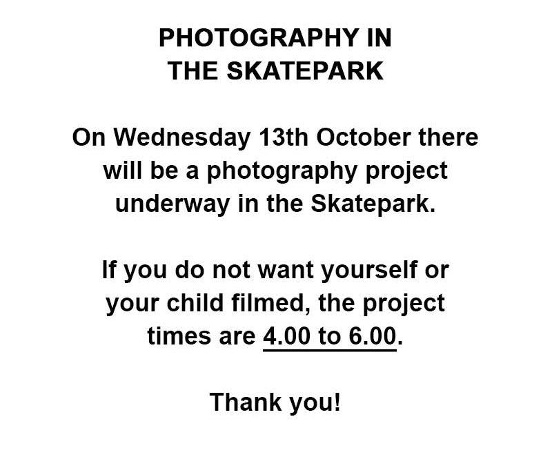 Notice: Photography in the Skatepark